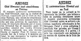 Articulos de La Vanguardia sobre dos simultáneas de ajedrez dadas por Olaf Ulvestad