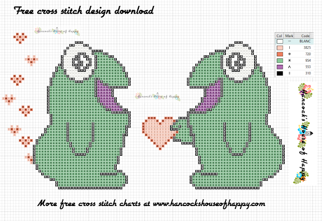 Free Cross Stitch Pattern of Two Monsters in Love