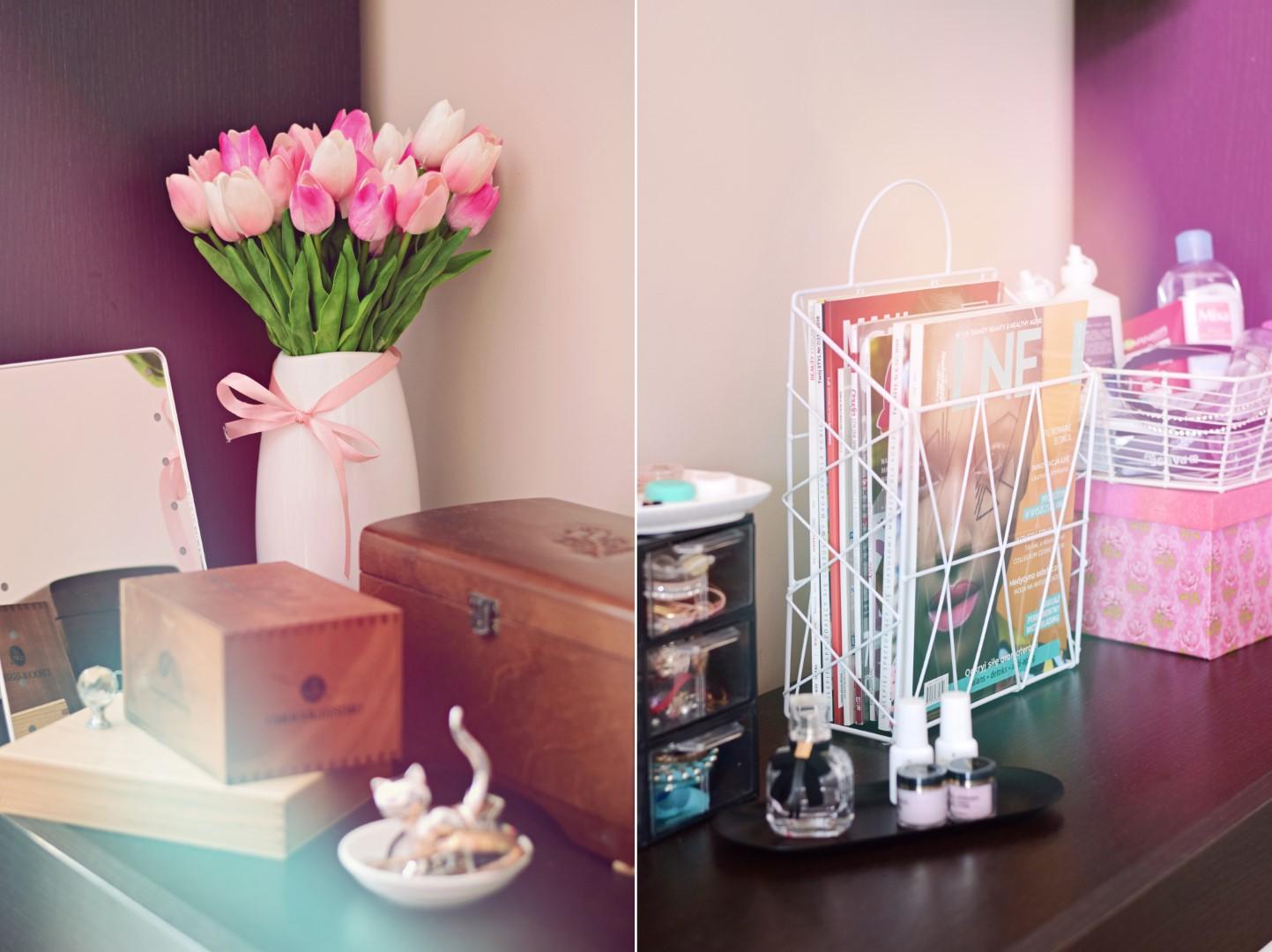 ładne_sztuczne_tulipany_aliexpress_gazetnik_biały_prosty_wazon_toaletka_komoda_sypialnia