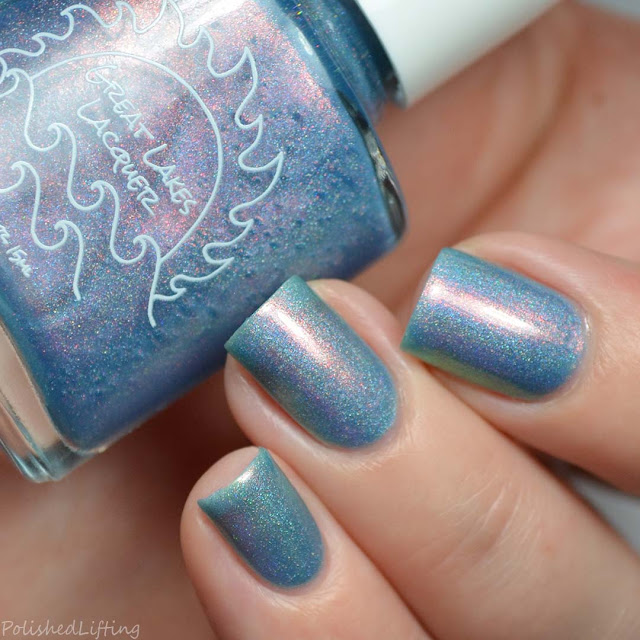 blue nail polish with color shifting aurora shimmer