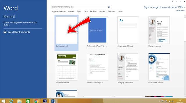 Berikut ini Cara membuat dokumen baru di word