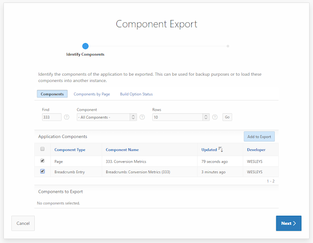 Grassroots Oracle: APEX Component Export