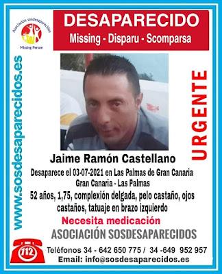 Jaime Ramón Castellano, hombre desaparecido en Las palmas de Gran Canaria. Necesita medicación