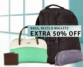 Great Deal: Extra 50% Off on Belts, Wallets, Bags, Clutches, Backpacks, Luggage & more @ Flipkart