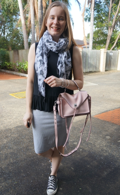 monochrome tassel scarf peplum tank pencil skirt converse outfit with pastel pink bag | away from blue