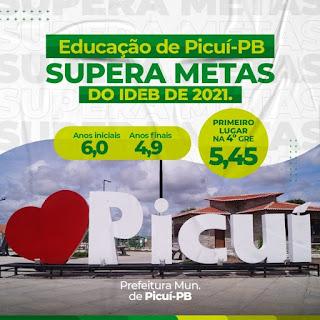 Município de Picuí conquista melhor índice do IDEB no Curimataú e Seridó paraibano