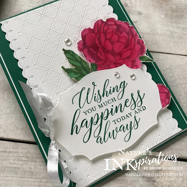 By Angie McKenzie for The Joy of Sets Blog Hop; Click READ or VISIT to go to my blog for details! Featuring the Prized Peony Bundle with four other stamp sets to make a perfect anniversary card; #handmadecards #naturesinkspirations #joyofsetsbloghop #occasioncards #anniversarycards #stampinup #prizedpeonybundle #sosentimentalstampset #familypartystampset #foreverfernstampset #manymatesstampset #debossing #daintydiamondsembossingfolder #coloringwithblends #cardtechniques #stampinupinks #makingotherssmileonecreationatatime #naturesinkspirations