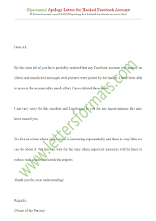 apology for hacked facebook account