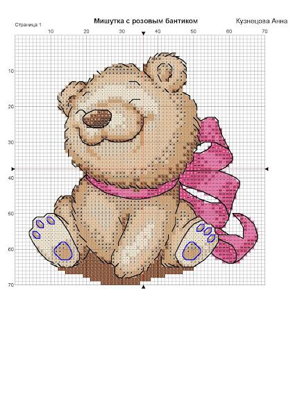 schema punto croce per bambini- orsetto con fiocchi  schema punto croce per bambini- orsetto con fiocco per bambina
