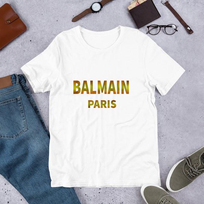 Balmain Paris, White, Black T-shirt In Golden Letters
