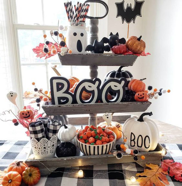 3 tiered wooden tray with Halloween decor