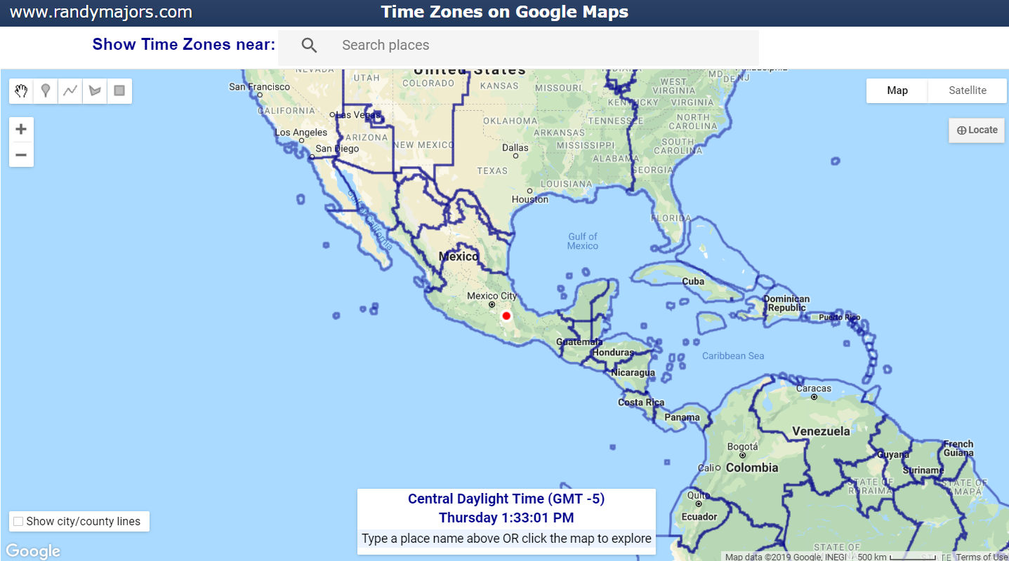 Time Zones on Google Maps