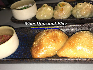 The chicken samsa and lamb mantis dumpling dishes at OSH Dubai