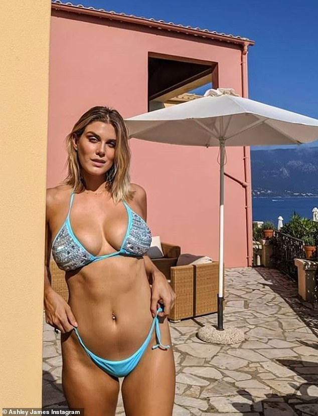 Ashley James Poses in a bikini photos during Corfu getaway