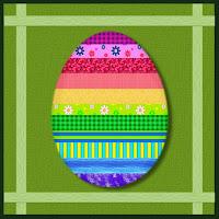 quadratische Karte mit bunt gestreiftem Ei