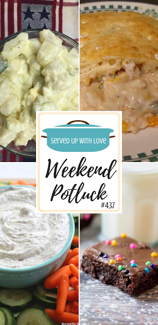 Weekend Potluck featured recipes include The Best Homemade Potato Salad, Copy Cat Little Debbie Cosmic Brownies, Kid's Favorite Chicken Pie, Garden Fresh Dill Dip and so much more.