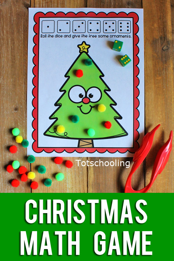 FREE printable Christmas themed Roll the Dice math game, perfect for preschool, pre-k, or kindergarten kids! Roll the dice to put ornaments on the Christmas tree!