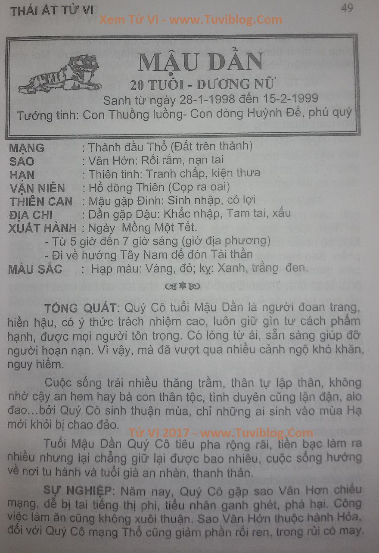 Tu vi 2017 Mau Dan 1998