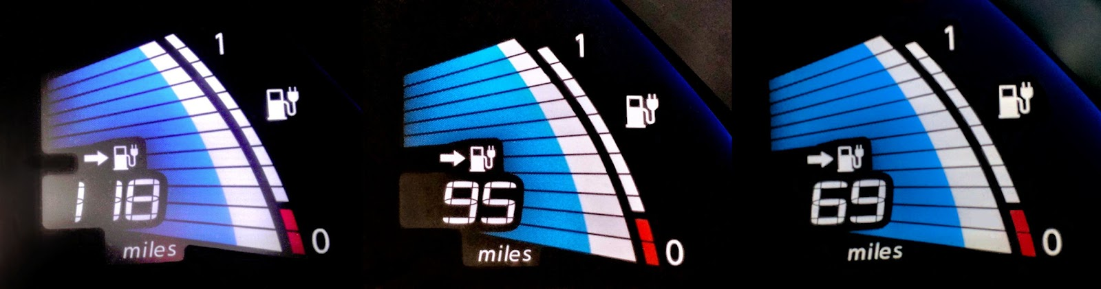 2011 Nissan Leaf Fuel Gauge, Fully Charged: New (left), 3 Years Old  (center), And 5 Years Old (right)