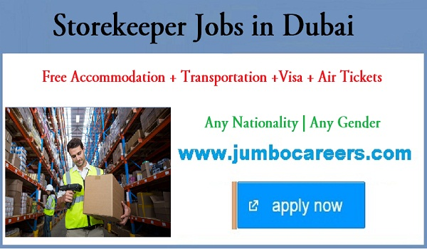 Dubai store keeper jobs for Indians, Recent Dubai jobs with accommodation,