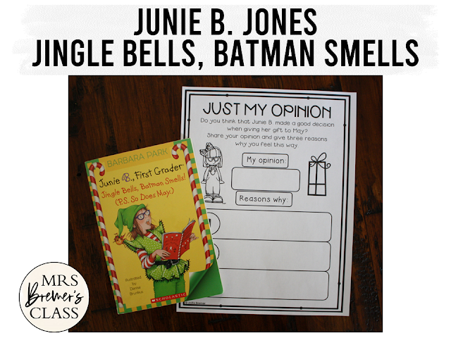Junie B. Jones Jingle Bells Batman Smells! (P.S. So Does May) book study companion activities to go with the book by Barbara Park. Packed with fun literacy ideas and guided reading activities. Perfect for a Christmas theme in the classroom! Common Core aligned. Grades 1-2. #juniebjones #novelstudy #novelstudies #bookstudy #bookstudies #literacy #1stgradereading #2ndgradereading #guidedreading #bookcompanion #bookcompanions