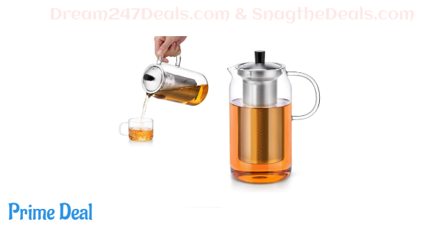 50% OFF Glass Teapot Gift Set with 6 Clear Glass Tea Cup