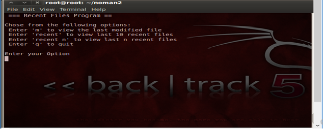 Show recent files in Backtrack