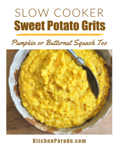 Slow Cooker Sweet Potato Grits (or Pumpkin Grits or Butternut Squash Grits) ♥ KitchenParade.com, a 'skinny' pot of grits, conveniently cooked in the slow cooker with sweet potato (or pumpkin or butternut squash) and a little mik, with just a tablespoon of butter stirred in to finish.