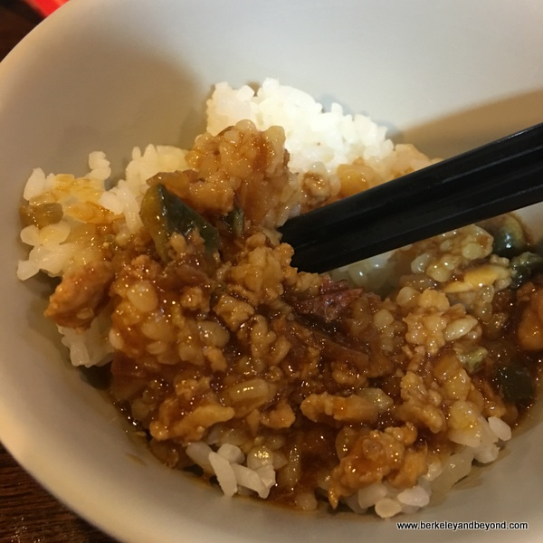minced pork over rice at Chun restaurant in Yilan, Taiwan