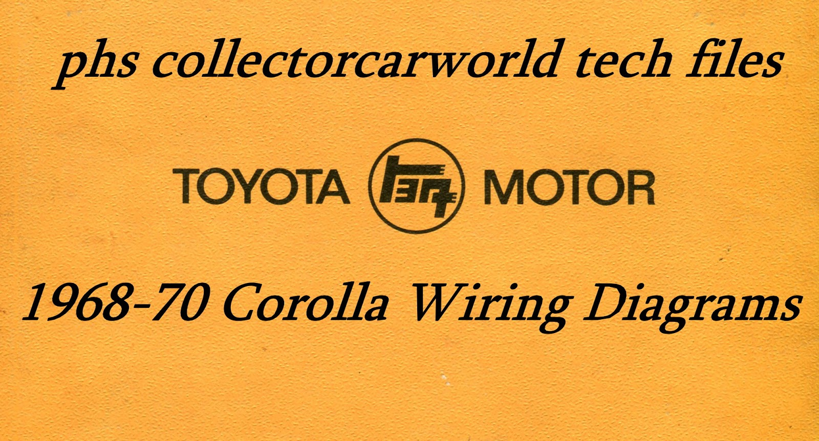 For this installment of Tech Series, we present the complete wiring  schematics for the 1968-1970 Toyota Corolla vehicles in the KE and TE  Series from April ...