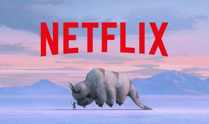 Imagem de capa: pintura de um deserto ártico com uma figura pequena segurando um bastão e dando a mão para um bisão voador, uma criatura enorme de seis patas com uma longa cauda de castor, chifres e corpo coberto por setas marroms e acima a logo da Netflix em vermelho.