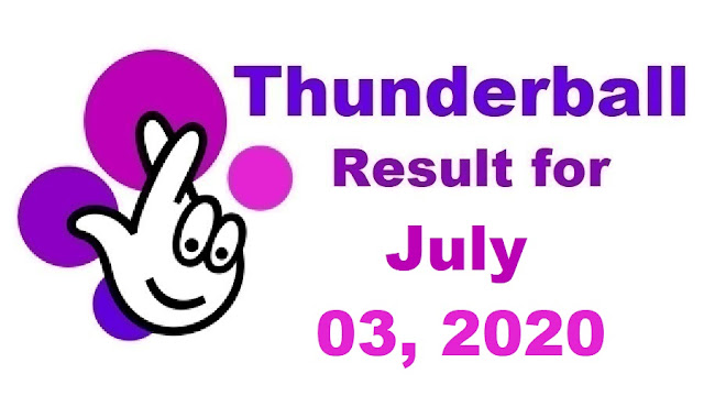 Thunderball Results for Friday, July 03, 2020