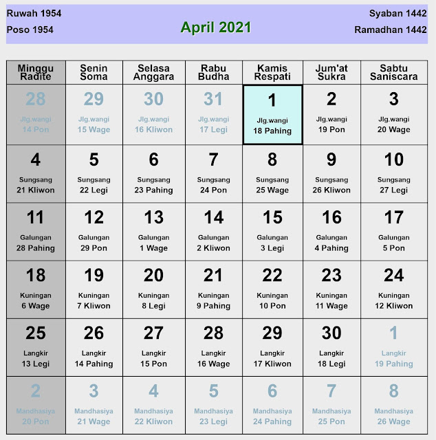 Kalender Jawa April 2021 Lengkap