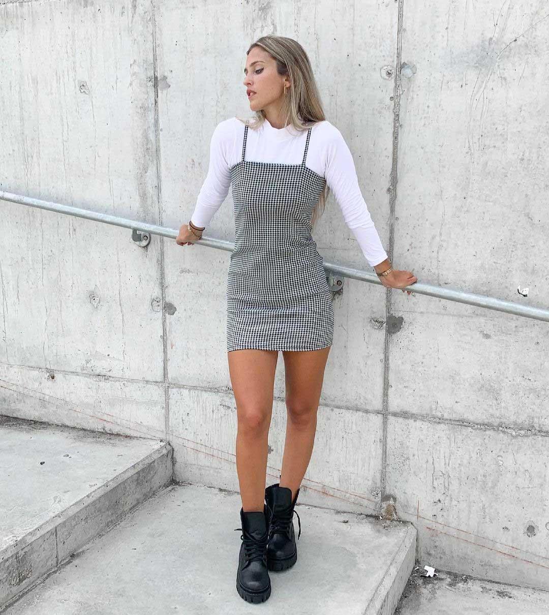 vestido tipo jumper con polera abajo moda mujer invierno 2021