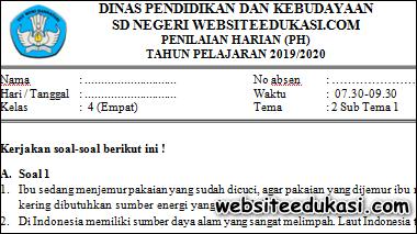 Soal PH / UH Kelas 4 Tema 2 Subtema 1 K13