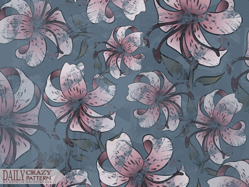 "Floral aged print for ""Daily Crazy Pattern"" project"