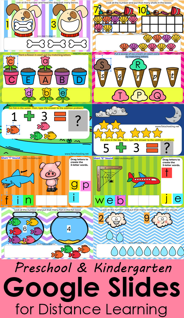 FREE interactive Google Slides activities perfect for teachers to give to students while doing distance/remote learning. Great for preschool and kindergarten kids to practice numbers, letters, sounds, easy addition and CVC words. Easy click and drag activities for computer or ipad.
