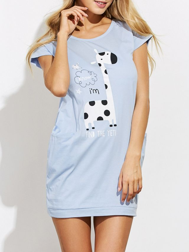 Giraffe cartoon night dress