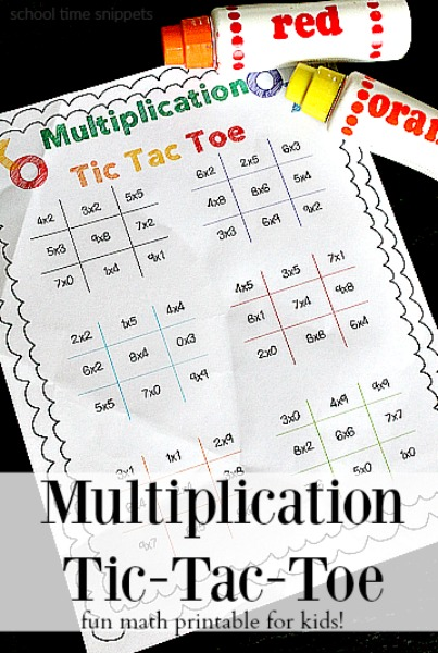 Print  Play Multiplication Facts Tic Tac Toe Game School Time