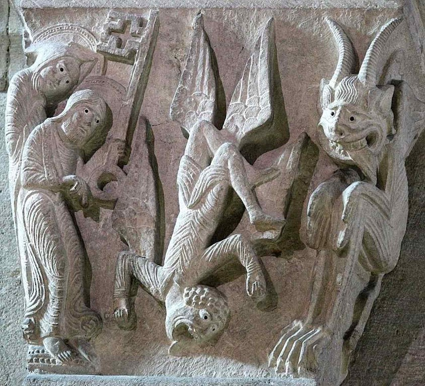 São Pedro precipita Simão o Mago por terra, capitel da igreja de Saint-Lazare, Autun, séc XII.
