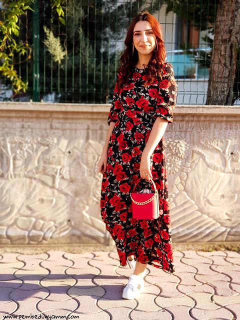 çiçekli maksi elbise