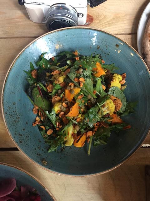 Water Lane Boathouse menu tasting roast cauliflower and green lentil salad