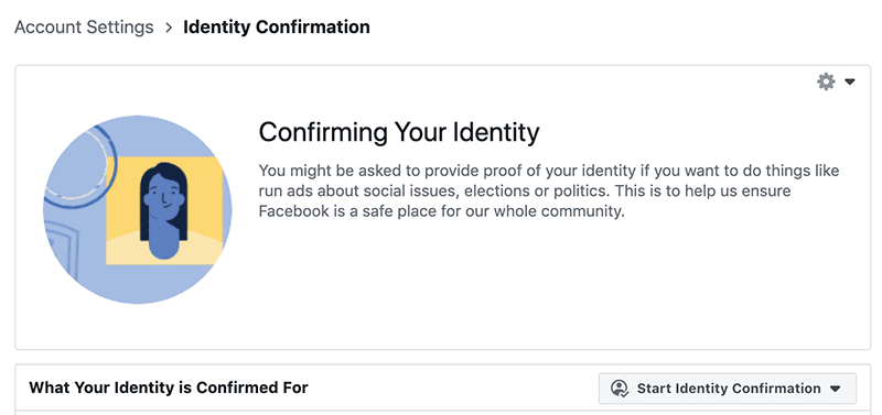 Identity Confirmation page