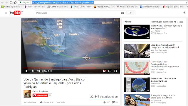"""Print de um dos vídeos do voo """"sobre"""" a Antártida"""