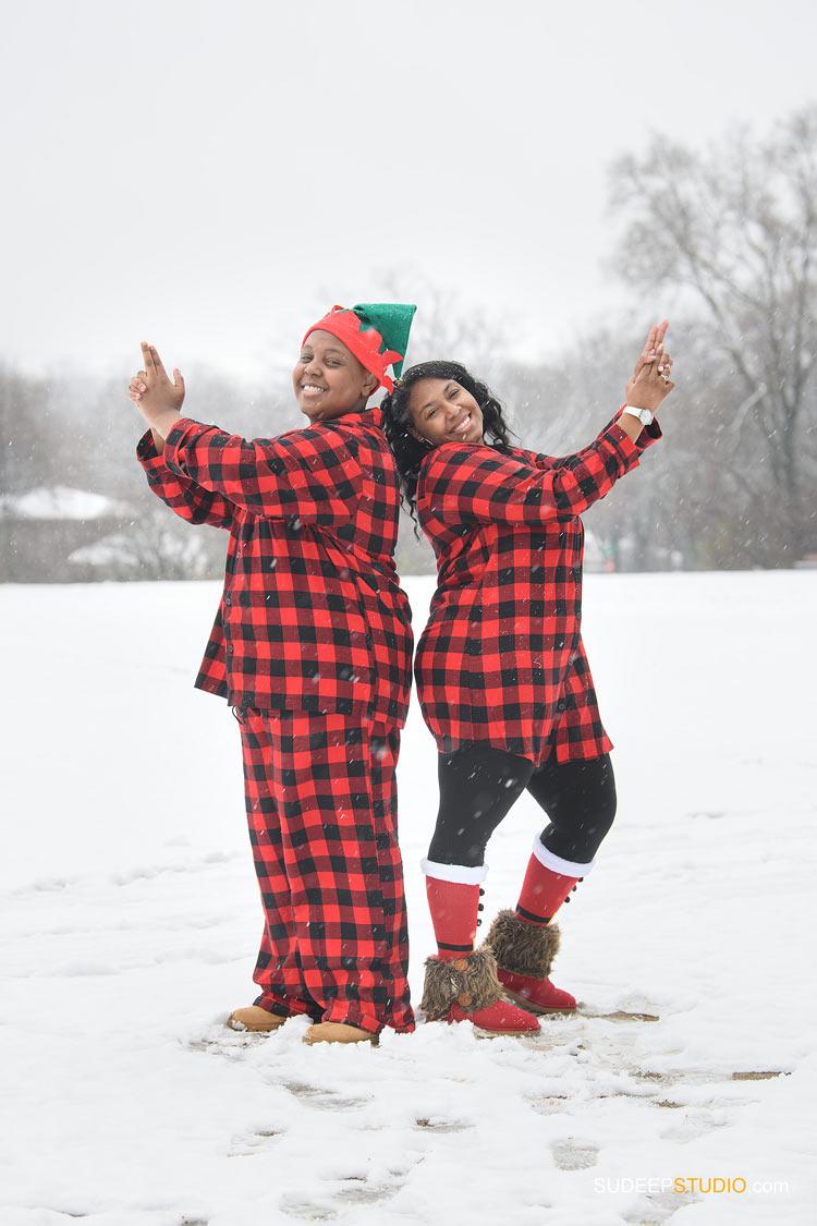 Holiday Christmas Card Family Portrait in Snow Nature Outdoor SudeepStudio.com Ann Arbor Family Portrait Photographer