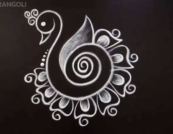 simple peacock rangoli design