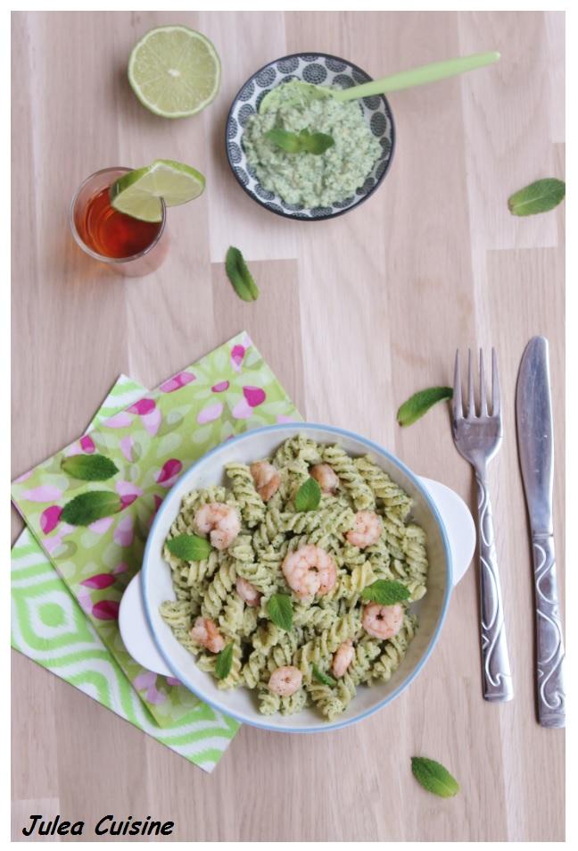 foodista challenge 30 fusili saveur mojito pesto citron vert menthe et crevettes flamb es. Black Bedroom Furniture Sets. Home Design Ideas