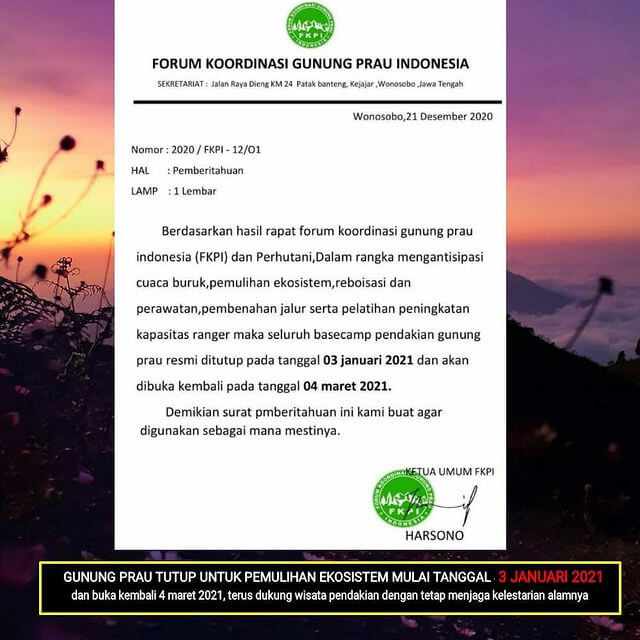 Surat Penutupan Gunung Prau - prau_mountain