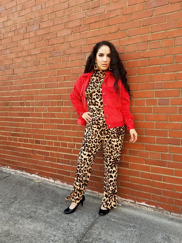SHEIN Leopard Jumpsuit and Corduroy Jacket