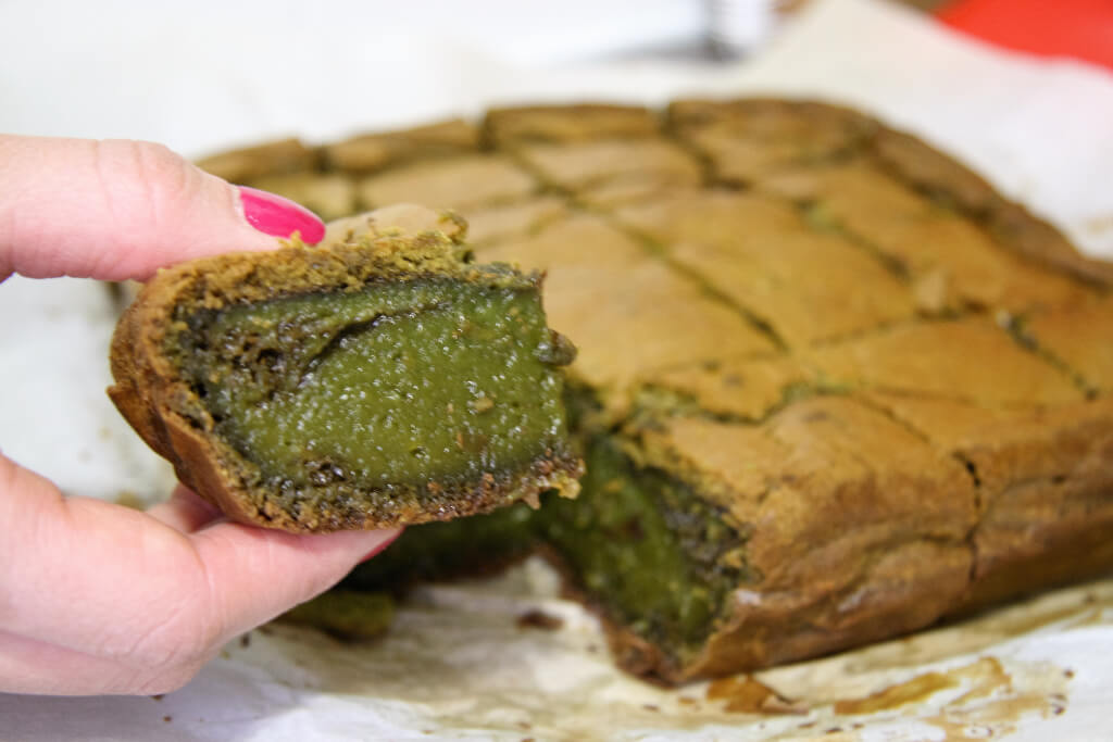 A Green Square Of Matcha Mochi Cake